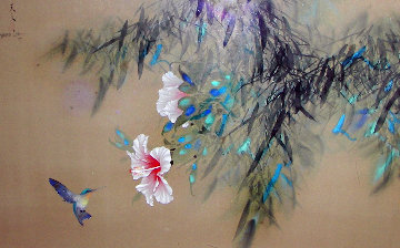 Hibiscus on Silk 1979 43x33 Original Painting - David Lee