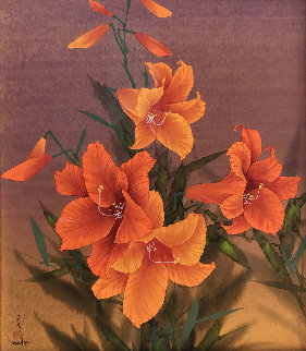 Untitled (Orange Flowers) Watercolor 27x23 Watercolor - David Lee