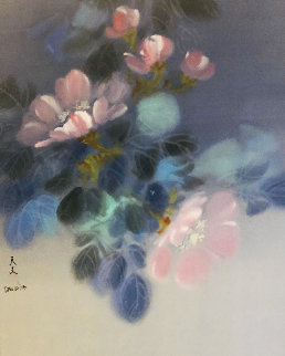 Floral Pedals  Watercolor 1986 20x26 Watercolor - David Lee
