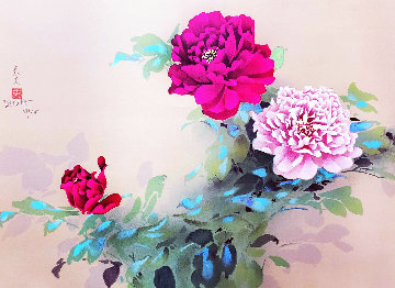 Red and Pink Flowers Limited Edition Print - David Lee