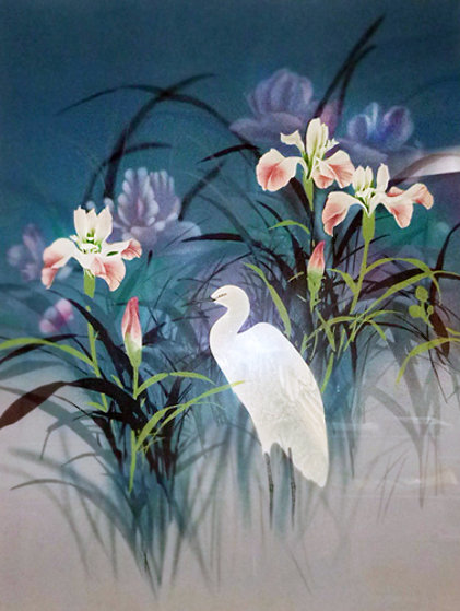 Untitled Egret Painting 48x36
