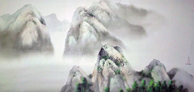 Passage to Emerald Mountain Watercolor 1997 34x58