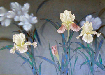 Iris 1980 30x40 on Silk Original Painting - David Lee