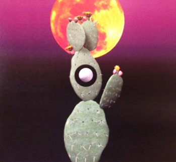 Cactus Moon 2008 36 x 36 Original Painting - Lawrence Lee