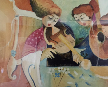 Girls With Instruments 42x57 Original Painting - Lee White