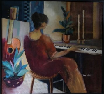 Woman With Piano 52x55 Original Painting - Lee White
