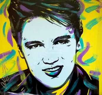 Elvis 18x18 Original Painting - Allison Lefcort