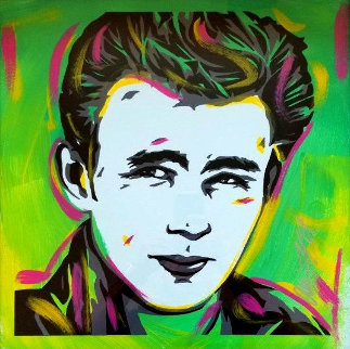 James Dean 18x18 Original Painting - Allison Lefcort