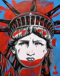 Statute of Liberty 32x28 Works on Paper (not prints) - Allison Lefcort
