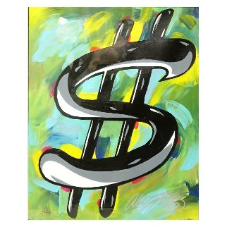 Dollar Sign 32x28 Original Painting - Allison Lefcort