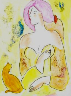 Moreno Et La Belle 2000 18x14 Watercolor - Linda LeKinff