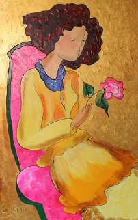 Beautiful Rose II  2006 46x33 Original Painting - Linda LeKinff