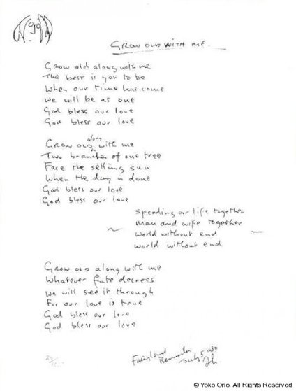 Lyrics: Grow Old With Me 1980