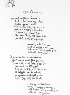 Happy Christmas Lyrics 2005  Limited Edition Print - John Lennon