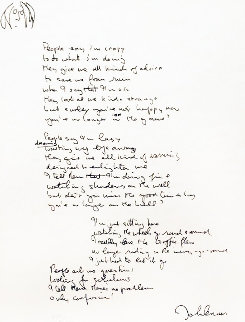 Lyrics: Watching the Wheels Go Round 1992 Limited Edition Print - John Lennon