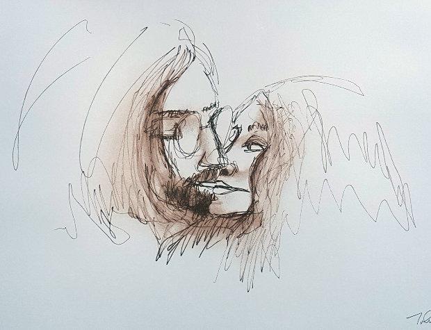 John Lennon Selfie | Beatles tattoos |Sketches John Lennon And Yoko Ono