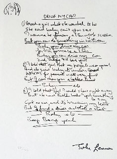 Lyrics: Drive My Car 2001 Limited Edition Print - John Lennon