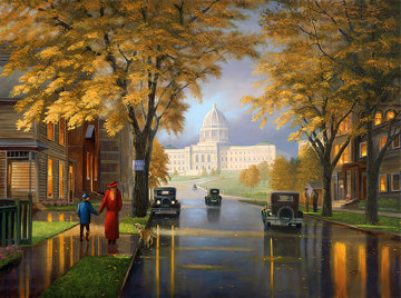 Autumn at the Capitol 2002 36x48 Original Painting - Leo Stans