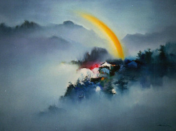 Untitled Landscape 1981 37x49 Original Painting - Hong Leung