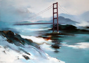 Golden Gate Bridge 1977 36x48 San Francisco Original Painting - Hong Leung