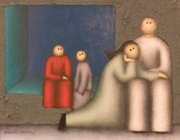 Mourning 1982 16x20 Original Painting - Jesus Leuus