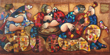 Ethnic Music Players Limited Edition Print - Dorit Levi