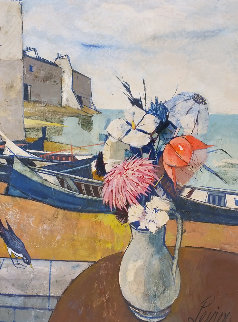 Abstract Floral Coastal Portrait Boat  45x35 Original Painting - Charles Levier