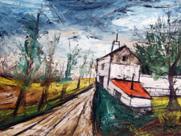 Farmhouse 34x41 Original Painting - Charles Levier