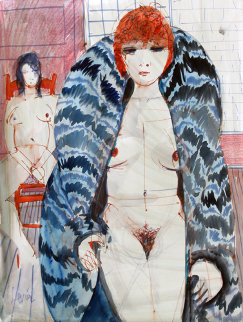 Untitled - Nudes in Fur II Watercolor 28x22 Watercolor - Charles Levier