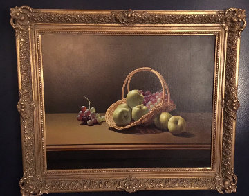 Basket And Fruit 1980 32x38 Original Painting - Lex Gonzalez