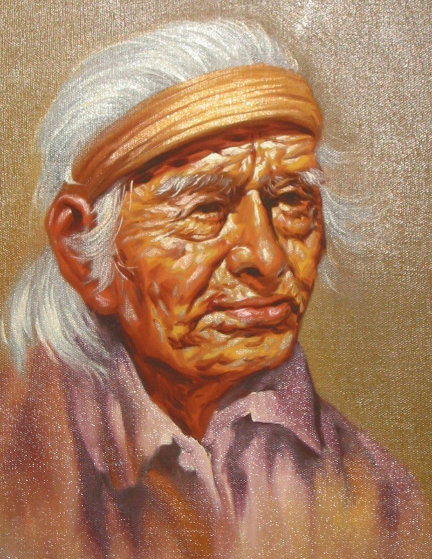 Native Elderly Men (Set of 4 Paintings) 1970 17x14