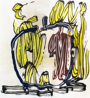 Vertical apple from Seven Apple Woodcuts Series, 1983 Limited Edition Print - Roy Lichtenstein