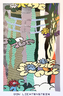 Water Lilies With Japanese Bridge Poster 1992 Limited Edition Print - Roy Lichtenstein