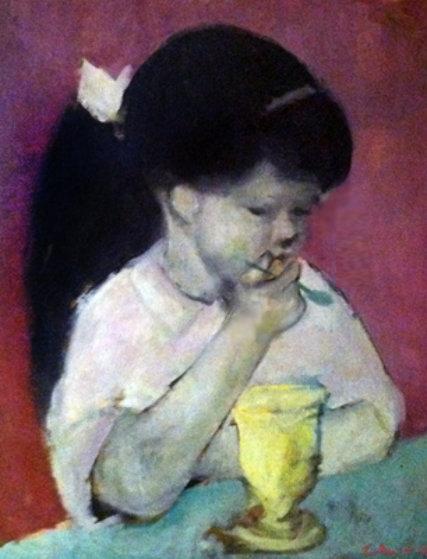 Girl Eating Ice Cream 1960 26x22 By Gustav Likan