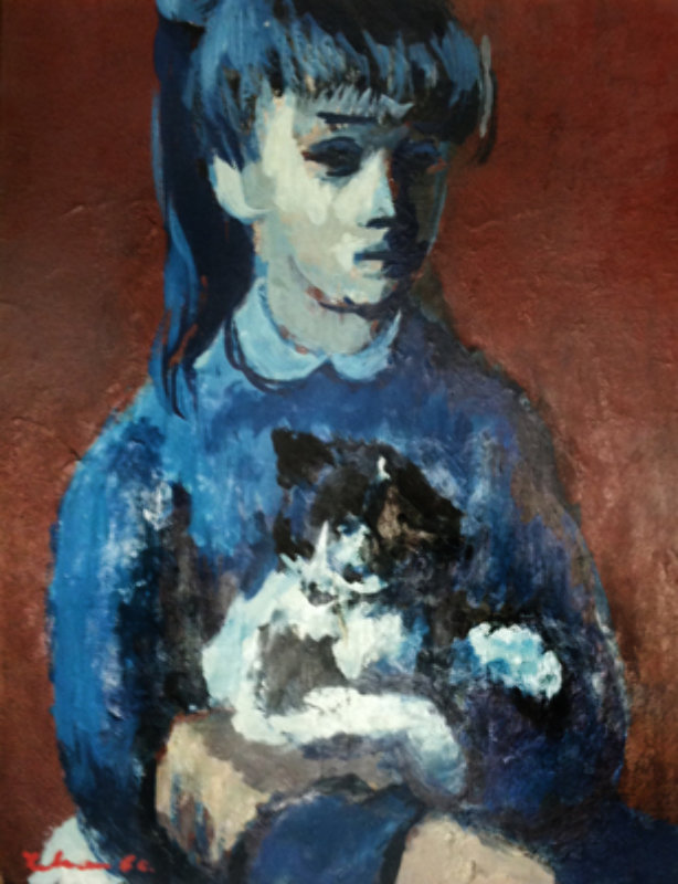 Girl With Cat 1960
