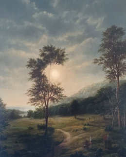English Landscape 1982 52x44 Original Painting - Thomas Locker