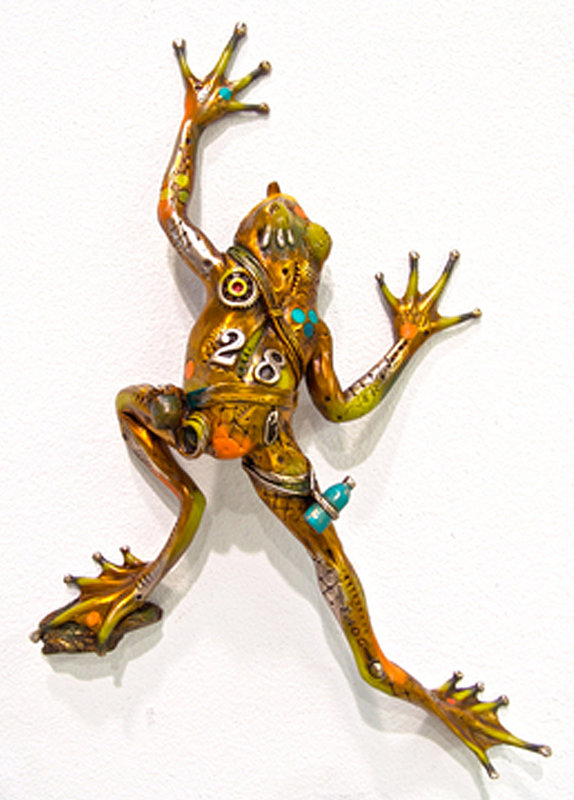 Sticky Climber (Frog Wall  Piece) Bronze Sculpture 2006 14 in