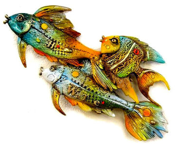 Fishes Going Left Bronze Sculpture 2014 10 in  Sculpture - Nano Lopez