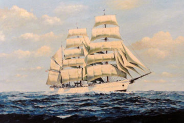 USCG Cutter Eagle 1982 29x41 Original Painting - Richard K.  Loud