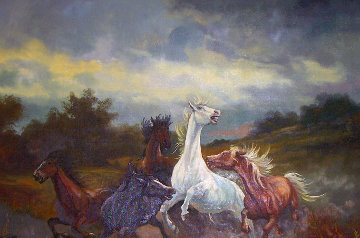 Stallion Attack 1969 23x31 Original Painting by Ludwig Muninger