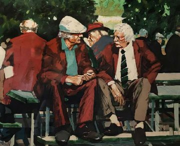Two Men Siting on a Bench AP 1992 Limited Edition Print - Aldo Luongo