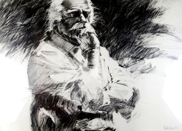 Contemplation Charcoal Drawing 1970 32x43 Drawing - Aldo Luongo