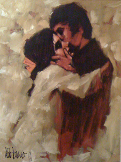 Young Lovers 1969 Early Work 40x30 By Aldo Luongo