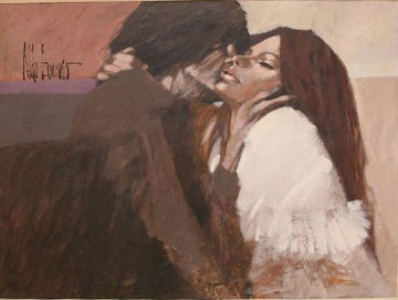 First Kiss 1970 54x42 (Early) Original Painting - Aldo Luongo