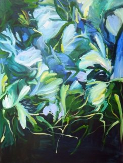 Night Garden 2014 40x30 Original Painting - Lydia Miller