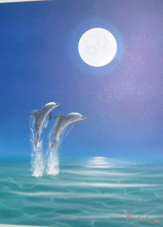 Sea Spray Moon 2000 19x15 Original Painting - Dan Mackin