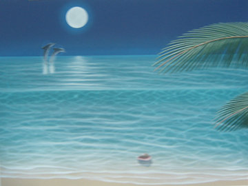 Moonlit Palms 2002  48x36 Original Painting - Dan Mackin