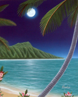 Diamond Head Moon 2000 48x42 Original Painting - Dan Mackin