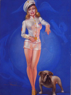 Untitled Sailor Girl Pastel 1940 Original Painting - Earl MacPherson
