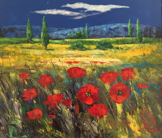 Tuscan Countryside With Poppies 2000 32x36